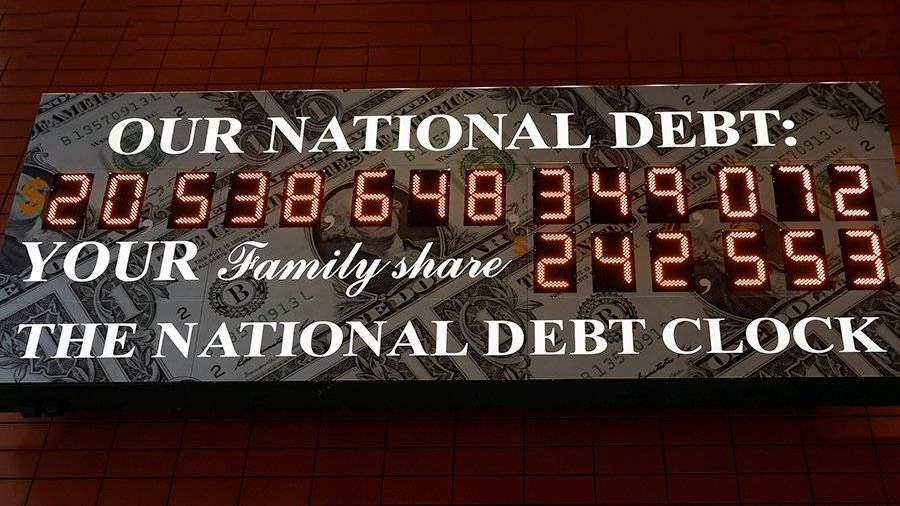 Неменее $20 трлн: вНью-Йорке вновь запущено табло ссчетчиком госдолга США