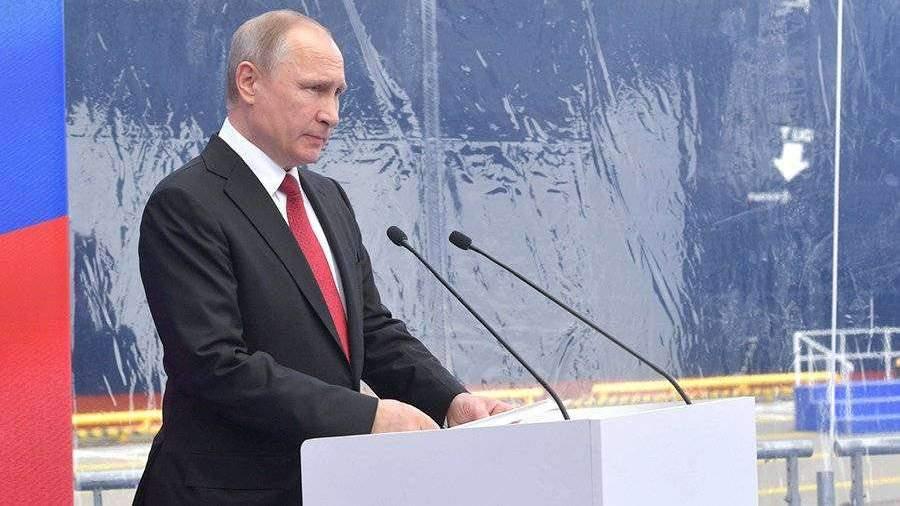 Путин принял участие в закладке экологического танкера типа «Афрамакс»