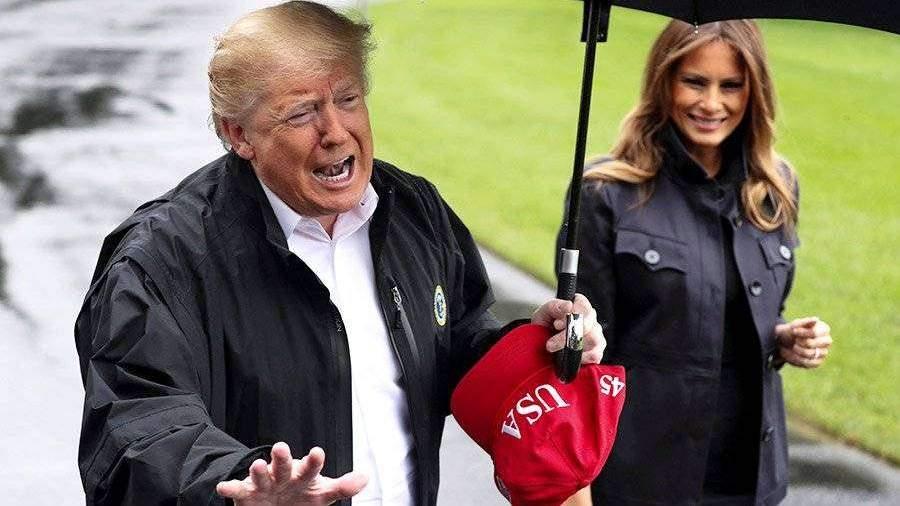 Картинки по Ðапросу трамп оставил жену под дождем
