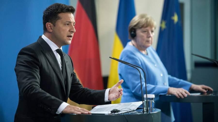 2021 07 12T195649Z 424781554 RC26JO9E2R14 RTRMADP 3 GERMANY UKRAINE.JPG Зеленский заявил о разных с Меркель мнениях по «Северному потоку – 2»