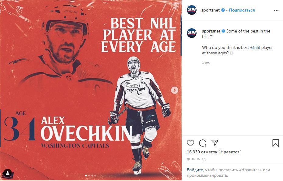 Овечкин признан лучшим игроком среди 34-летних хоккеистов НХЛ