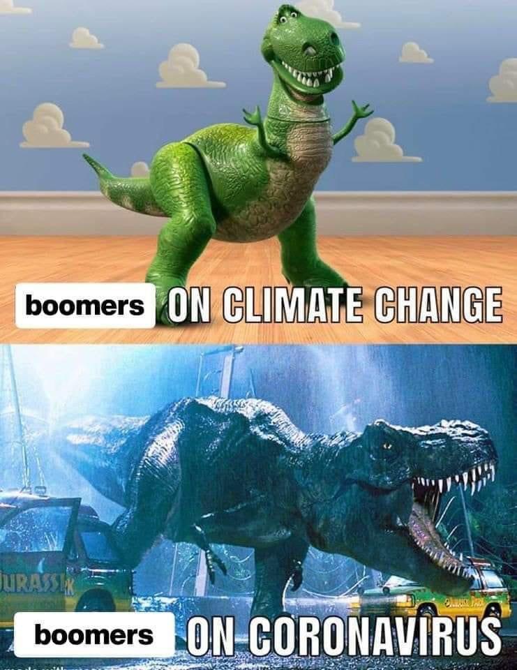 Мем про коронавирус с динозавром