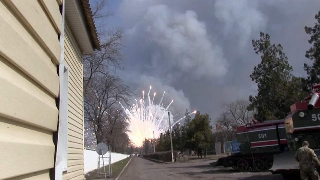 Взрывы и пожар на военном складе в Балаклее