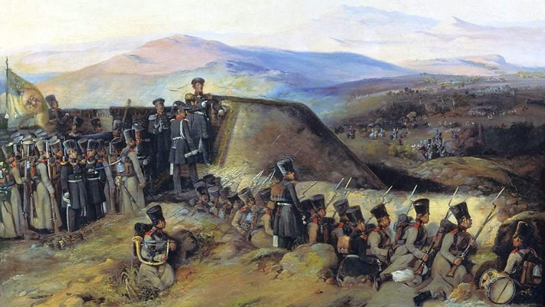 Русская пехота под командованием генерала Ивана Дибича в Кулевчинском сражении. 1829 год. Картина
