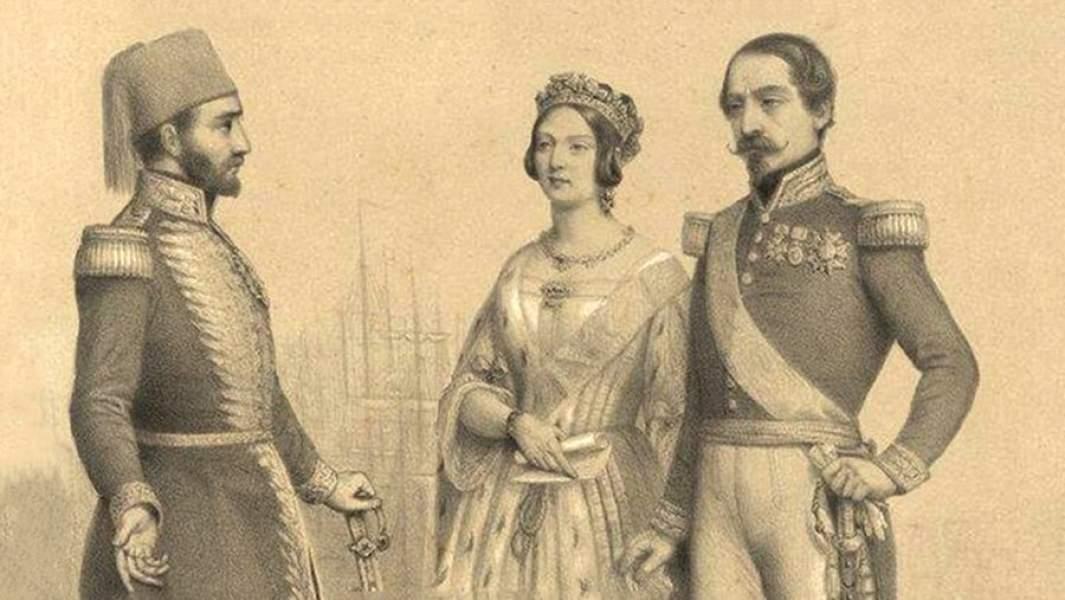 Османский султан Абдул-Меджид I с королевой Великобритании Викторией и императором Франции Наполеоном III
