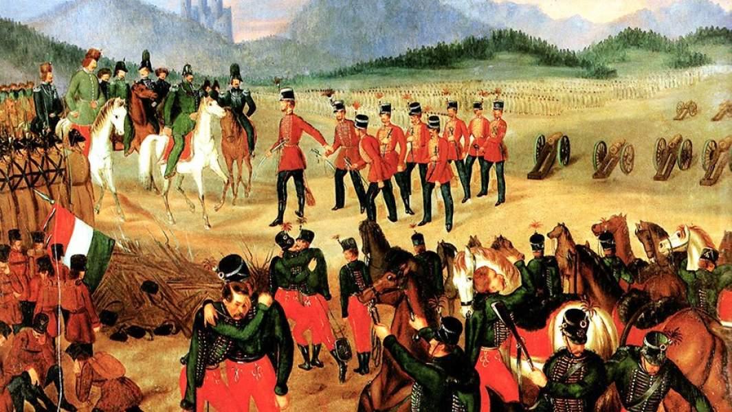 Капитуляция венгерских войск перед русским корпусом Ридигера во время подавления Венгерского восстания. 1849 год