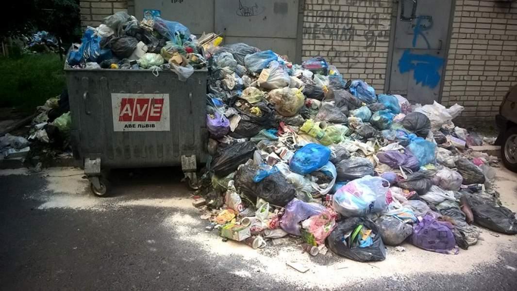 Переполненныемусорныеконтейнеры на улицах воЛьвове