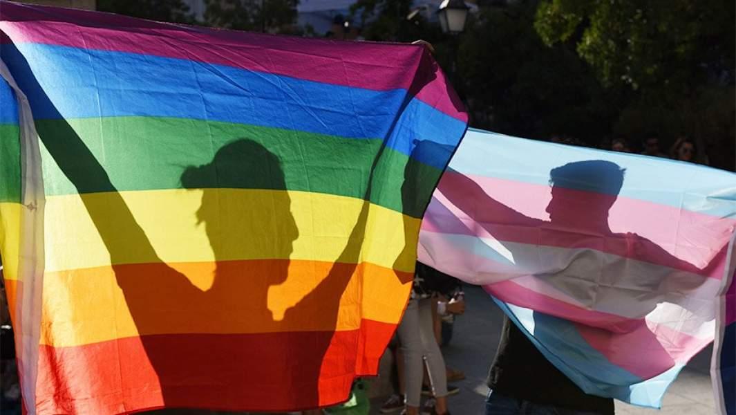 Силуэты людей за флагами на демонстрации в защиту прав ЛГБТ