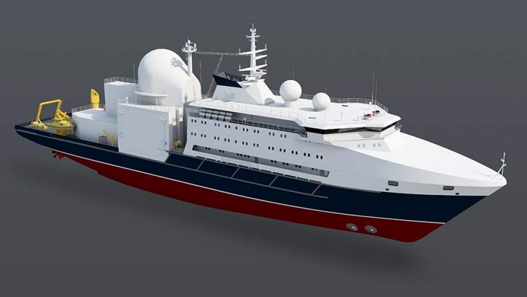 Проектное изображение океанографического исследовательского судна «Алмаз»