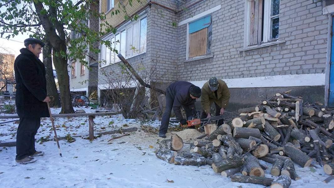 Пилка дров на зиму для инвалидов