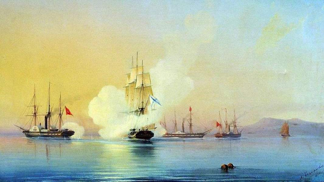 Картина Алексея Боголюбова«Бой 44-пушечного фрегата Флора с тремя турецкими пароходами у мыса Пицунда 9 ноября 1853 года»