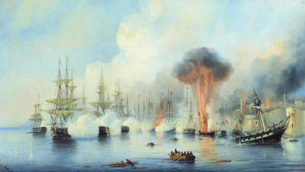 Картина Алексея Боголюбова«Синопский бой 18 ноября 1853 года»