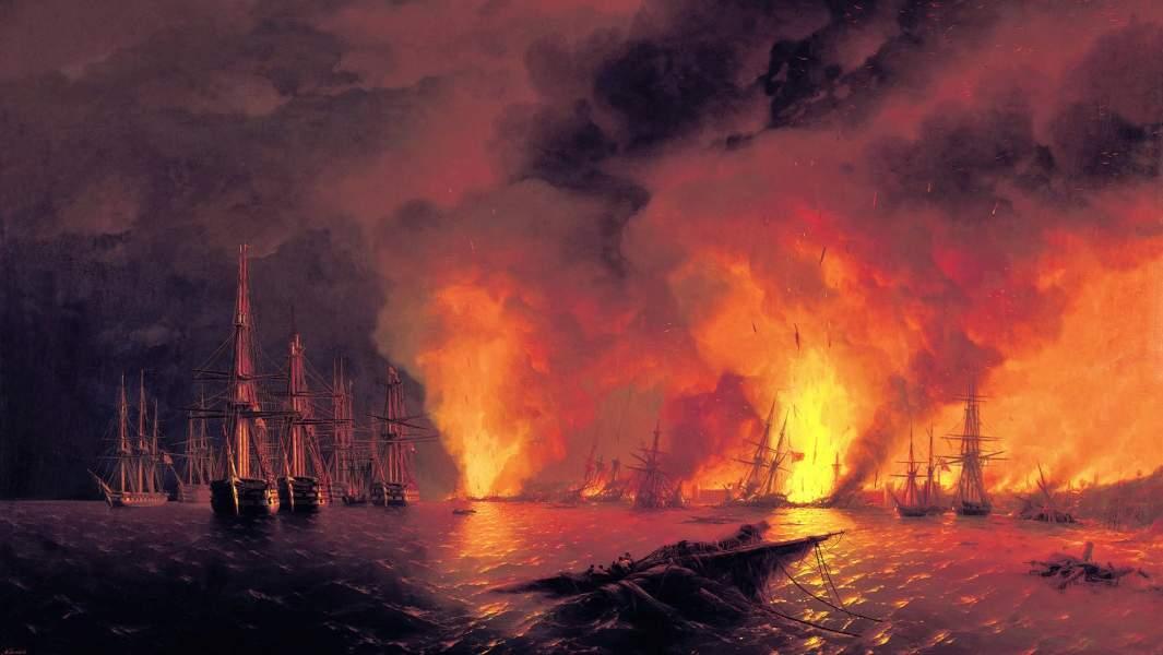 Картина Ивана Айвазовского «Синоп. Ночь после боя 18 ноября 1853 года»