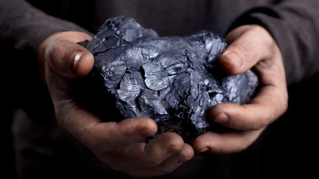 человек держит большой кусок угля