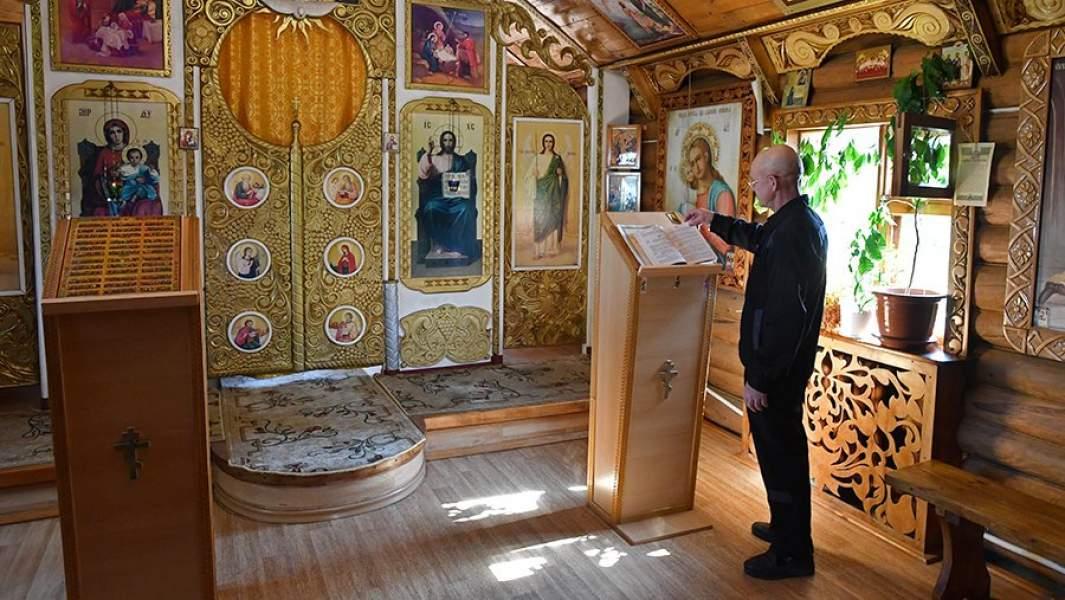 Заключенный в православном храме в исправительной колонии №22 в поселке Леплей Зубово-Полянского района Республики Мордовия