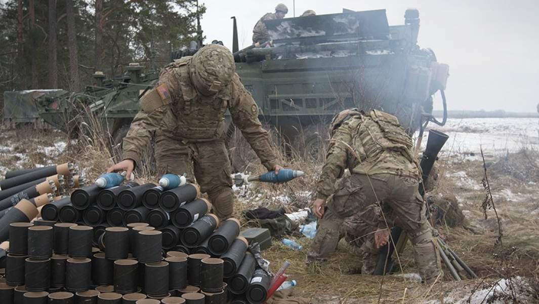 Минометный расчет армии США на учениях в Польше