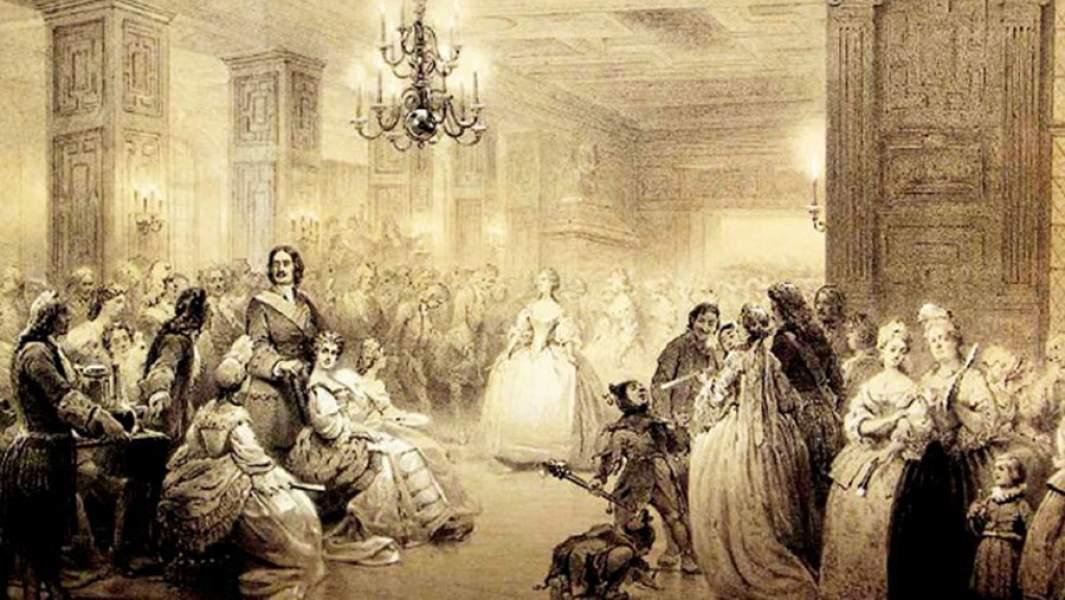 Картина неизвестного художника «Ассамблея при дворе Петра I»