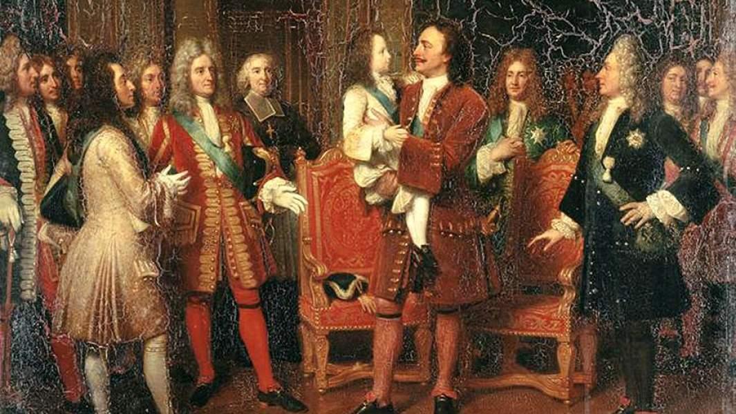 Картина Луизы Марии Жанны Эрсен «Луи XV посещает Петра I»