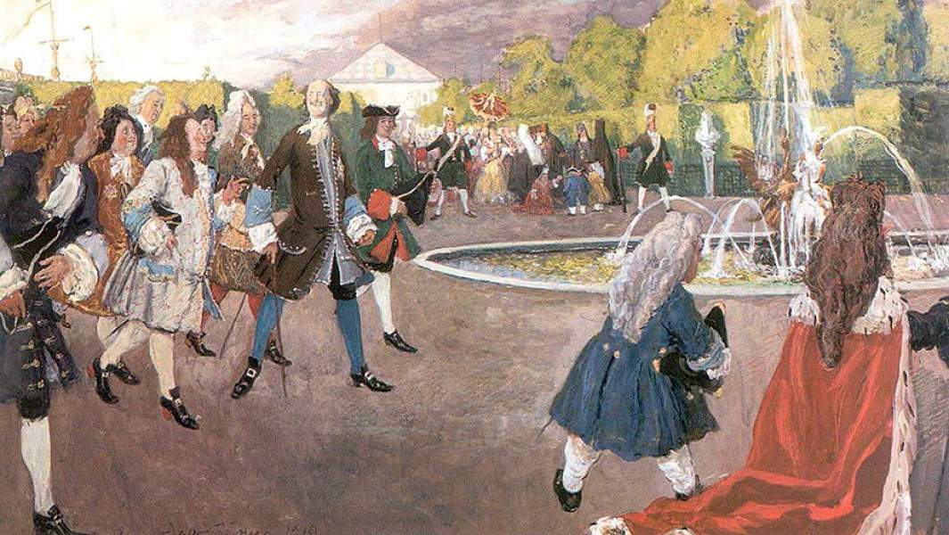 Картина А. Бенуа «Петр I на прогулке в Летнем саду»
