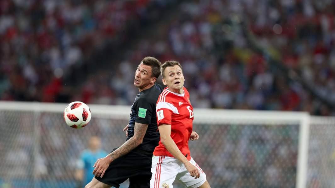 Сборная России против сборной Хорватии в рамках 1/4 финала чемпионата мира по футболу