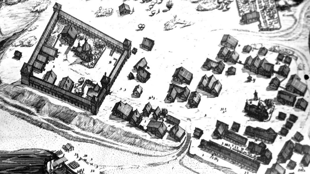 План-макет древнего города Мангазеи, реконструированный по документам XVII века и на основании данных археологической разведки на побережье Тазовской губы