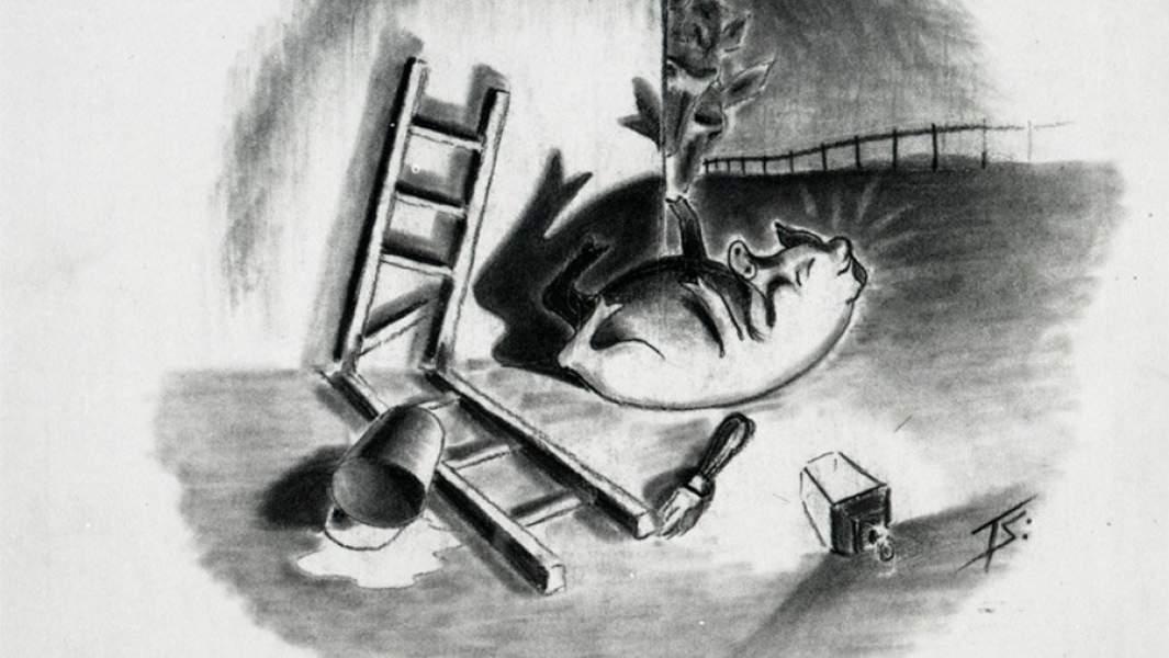 Иллюстрация к «Скотному двору».Художники Нормат Петти Дональд Фриман