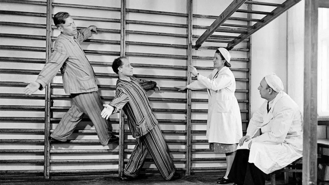 Лечебная гимнастика в Центральном Институте курортологии. Москва, 1951 год