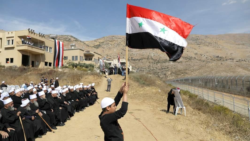 Митингвозле линии прекращения огня между Израилем и Сирией наГоланских высотах