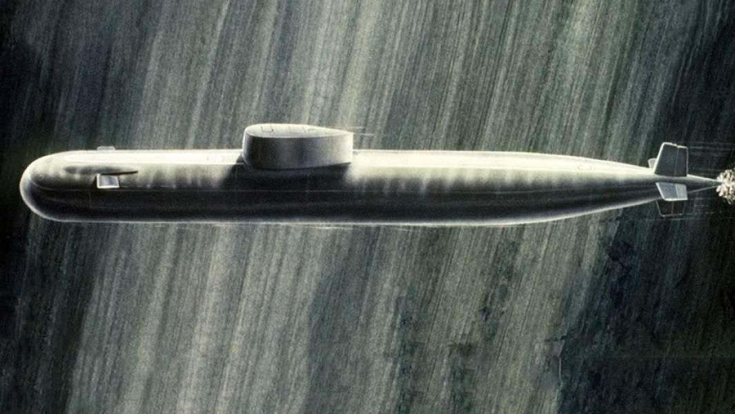 """Атомная подводная лодка К-278 """"Комсомолец"""" в представлении американского художника. Иллюстрация из журнала """"Soviet Military Power"""".1984 год"""