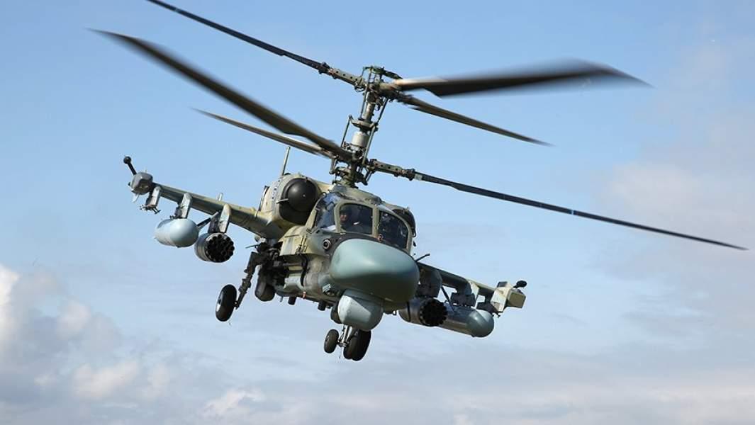 Ударный вертолет Ка-52 «Аллигатор» во время окружного этапа конкурса «Авиадартс-2019» в Краснодарском крае