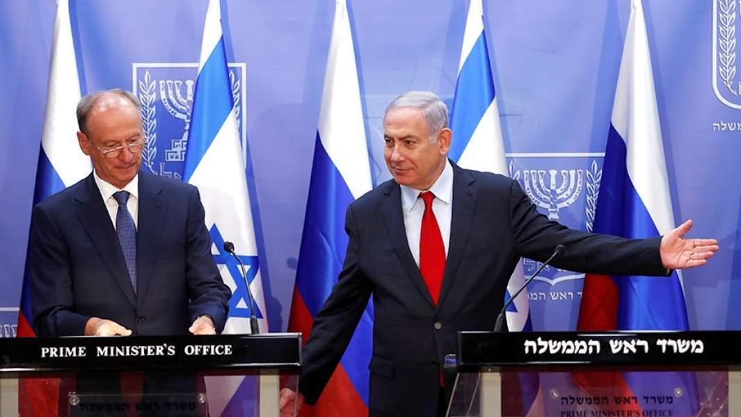 Секретарь Совета безопасности РФ Николай Патрушев и премьер-министр Израиля Биньямин Нетаньяху на совместной пресс-конференции