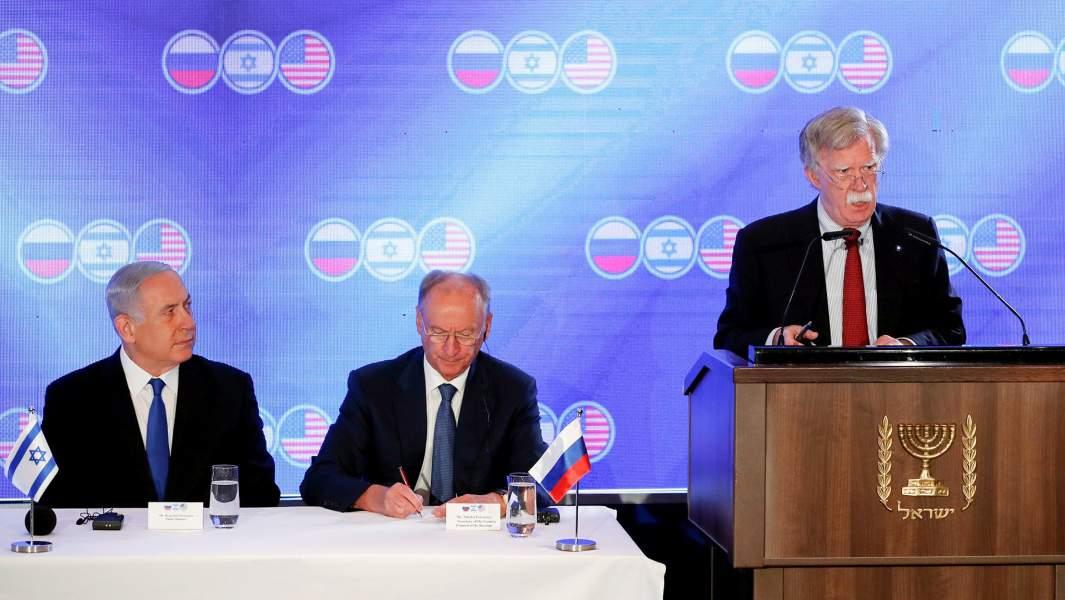 Джон Болтон выступает натрехстороннейвстрече советников по национальной безопасности США, России и Израиля