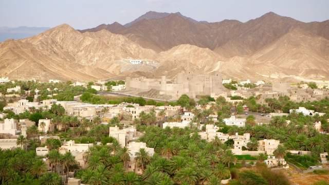 Вид на крепость Бахла и одноименный город