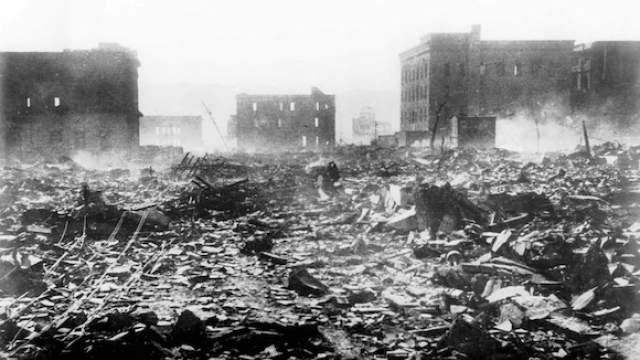 «Малыш» был сброшен над самым центром Хиросимы и разорвался в воздухе на высоте 400-600 метров. Эпицентр взрыва пришелся на госпиталь Сима.     Фото: ТАСС/ASSOCIATED PRESS