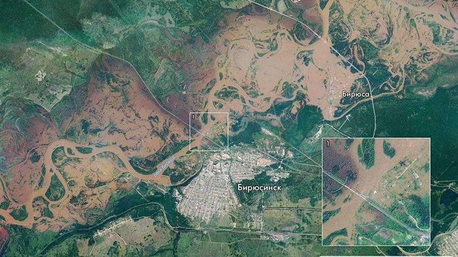 «Роскосмос» опубликовал спутниковые снимки иркутского паводка