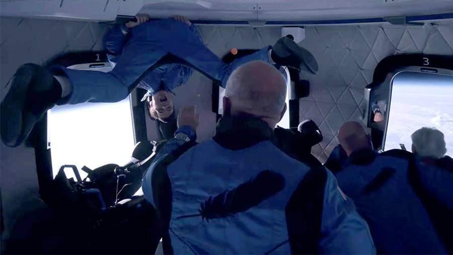 Безос опубликовал видео из капсулы во время полета в космос