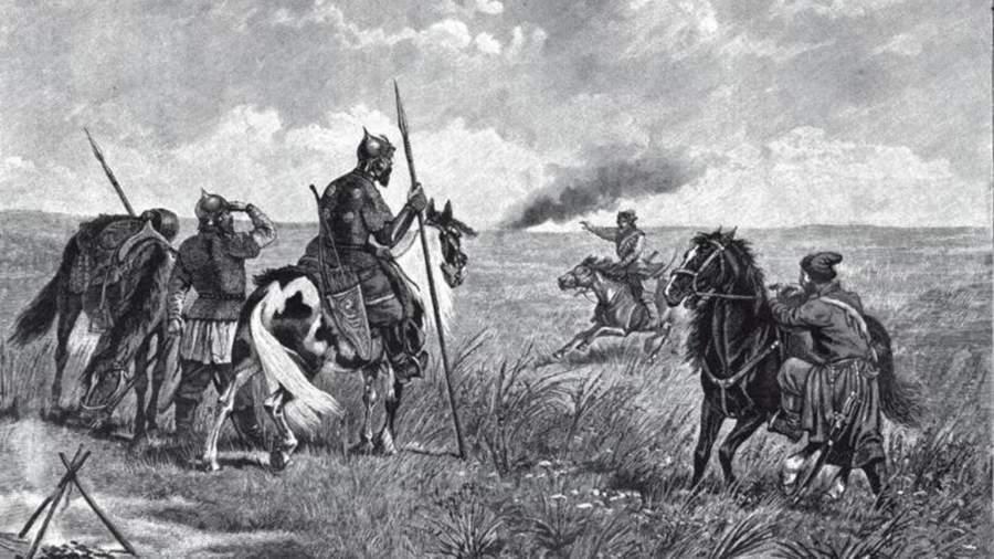 Тревога на пограничном карауле в XVI веке. Гравюра XIX века