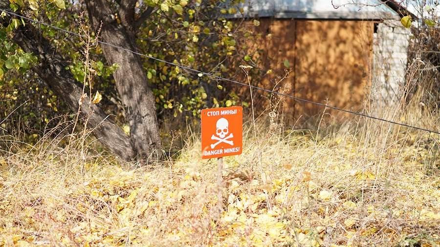 Предупреждающие таблички с надписью «Осторожно, мины»