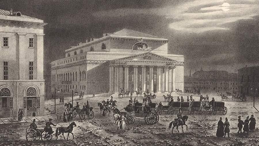 Большой Петровский театр.Литография Огюста Кадоля 1830-х годов