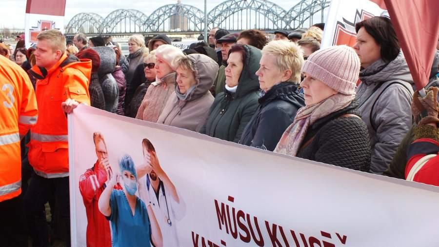Массовый митинг латвийскихмедиков