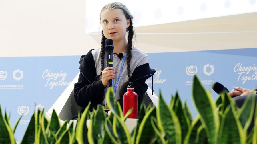 Грета Тунберг на конференцииООН по изменению климата в 2018 году