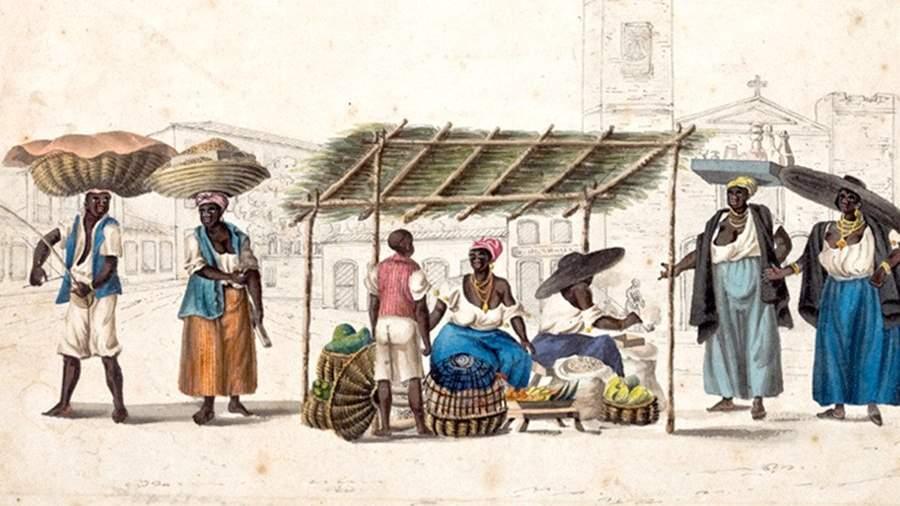 Генри Чемберлен. Уличные торговцы в Рио. Акварель, около 1819-1820 годы