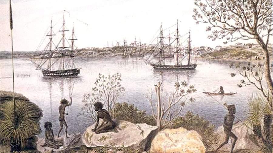 Вид Сиднея. Акварель из альбома П. Михайлова