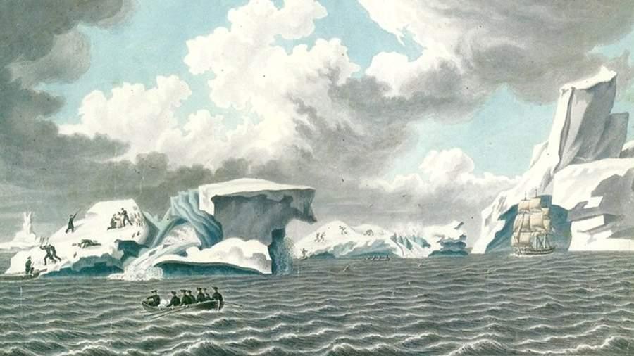 Вид ледяных островов 4 марта 1820 года. Акварель из альбома П. Михайлова