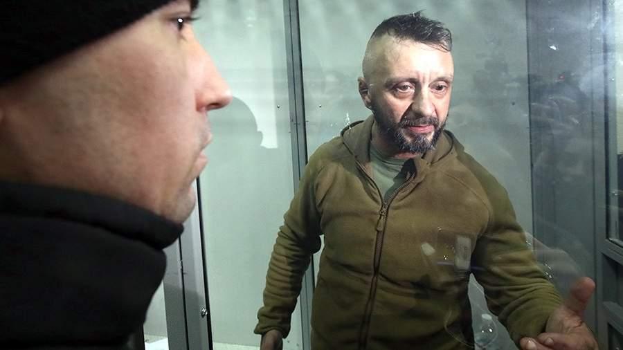 Участник силовой операции в Донбассе Андрей Антоненко, подозреваемый в убийстве журналиста Павла Шеремета, во время заседания Печерского районного суда Киева