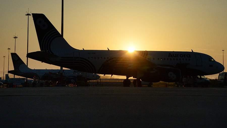 Самолеты Airbus A319 авиакомпании «Аврора» в международном аэропорту Владивосток