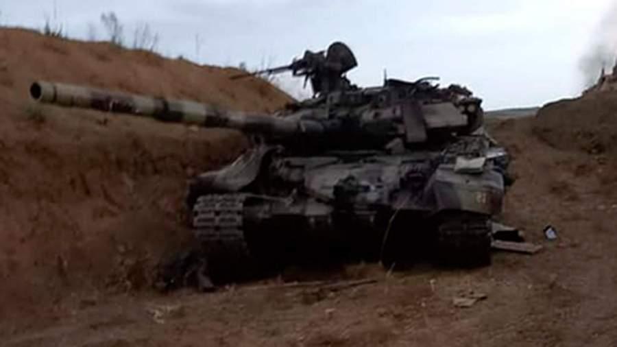 Подбитый танк Т-90С ВС Азербайджана