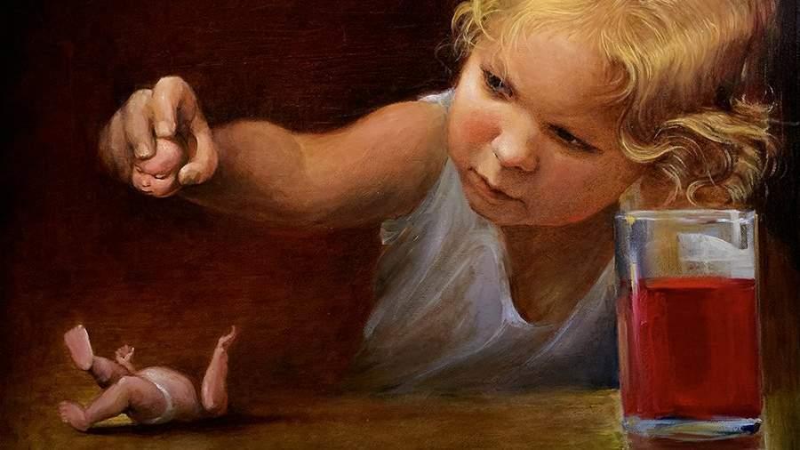 Картина выставки «Оптимистическая трагедия 2020» «Маленькая Юдифь» художника Сергея Герасимова