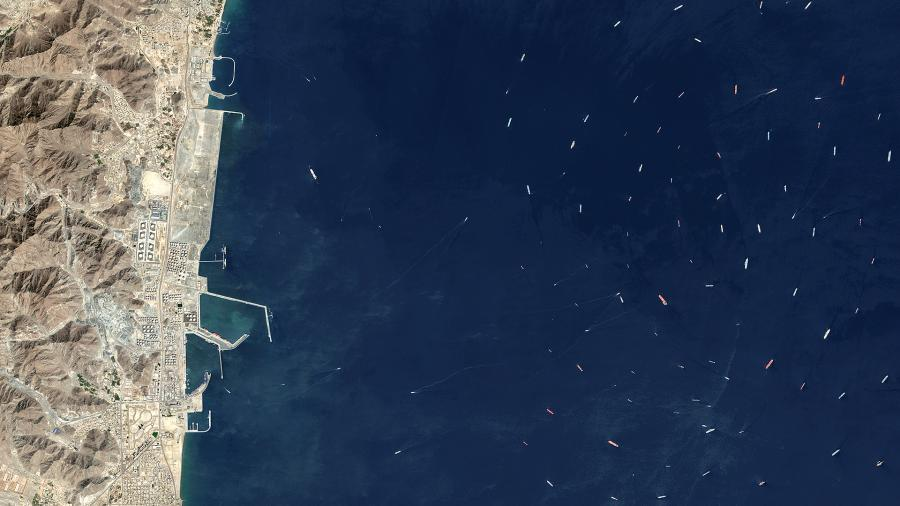 Oil tankers and bulk carriers moored along the Gulf of Oman