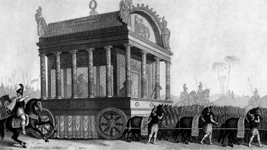 Изображение похоронной процессии Александра Македонского, основанное на описании Диодора Сицилийского